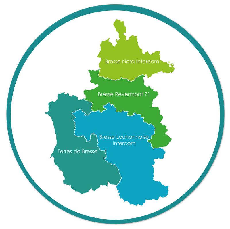 Carte des 4 communautés de communes