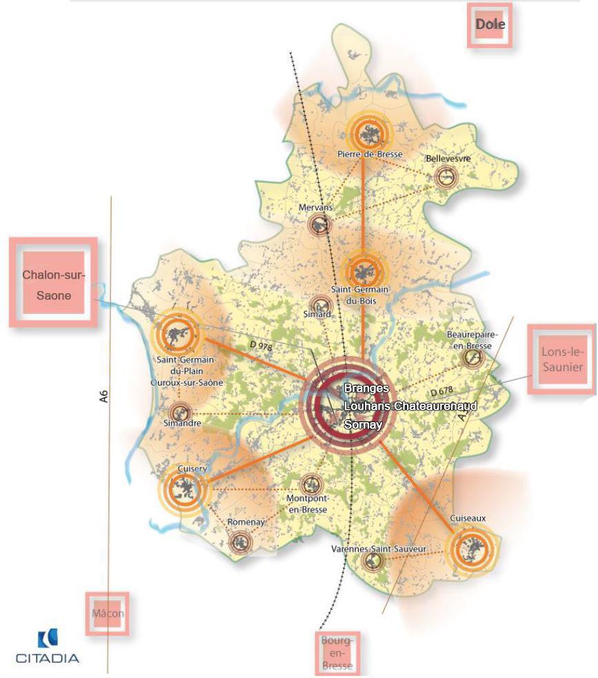 Louhans-Chateaurenaud, Branges et Sornay, nouvelle centralité bressane